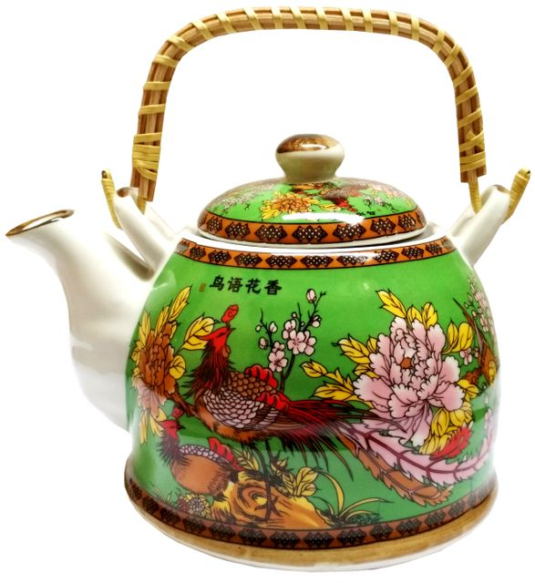 Purpledip Ceramic Fire Kettle 'Merry Forest': 1L Tea Pot with Steel Strainer (11780)