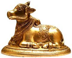 Purpledip Brass Idol Nandi: Siva Parvati Mount Bull Statue (11783)