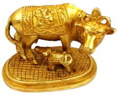 Purpledip Brass Idol Kamdhenu Cow with Calf : Golden Statue for Home Temple (11785)