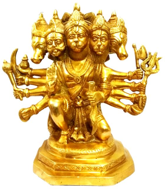 Purpledip Brass Idol Lord Hanuman in Panchmukhi Avatar (10390A)