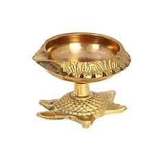 Purpledip Brass Kuber Diya on Auspicious Tortoise: Unique Festive Decor for Home Temple (11515)