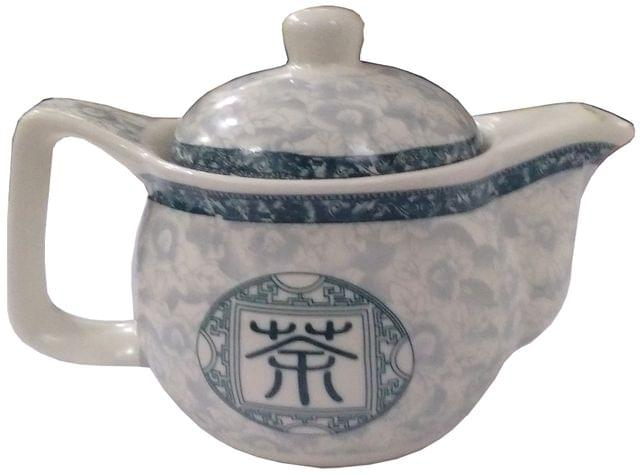 Purpledip Ceramic Kettle 'Mystic Symbol': Small 350 ml Chinese Tea Pot, Steel Strainer Included (11807)