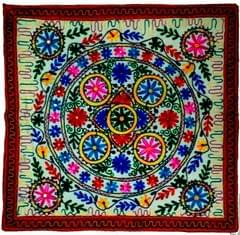 Purpledip Cotton Tapestry 'Riot of Colors': Vintage Embroidery Table Cover or Wall Hanging (11775)