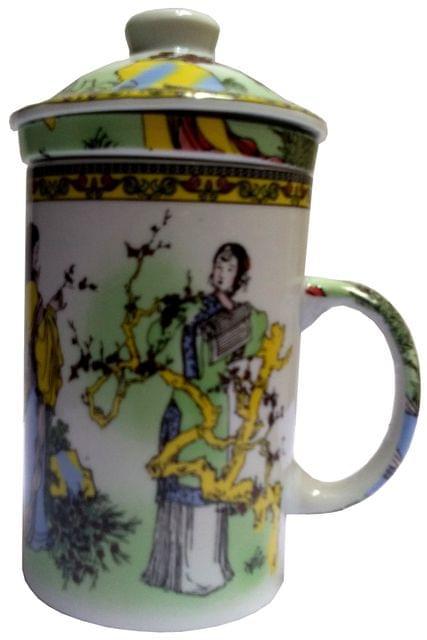 Purpledip Porcelain Oriental Green Tea Mug, Infuser & Lid 'Tree Talks' (11723B)