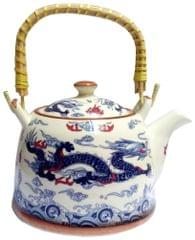 Purpledip Ceramic Kettle 'Holy Dragon': 850 ml Tea Coffee Pot, Steel Strainer Included (11623A)