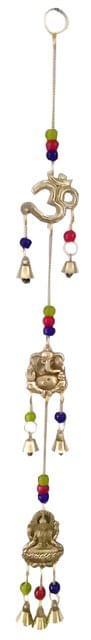 Purpledip Brass Wall Hanging 'Lakshmi Ganesha Om': Good Luck Wind Chime (11832)