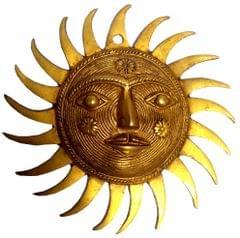 Purpledip Brass Idol Sun God Surya Dev Wall Hanging (11833)