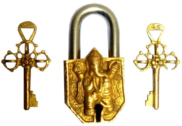 Purpledip Brass Padlock Lord Ganesha: Vintage Design Small Safety Lock (11835)