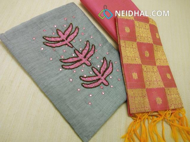 Greyish Blue Soft silk cotton unstitched salwar material(requires lining) with rench knot work, bead work, thread work and faux mirror work on yoke, daman patch, plain back, Pink Silk cotton bottom, Pink benaras weaving dupatta with tassels.