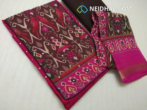 Pink Slub Cotton unstitched salwar material with digital print on yoke, Faux Mirror work on yoke and front side, plain back, Brown cotton bottom, digital printed silk cotton dupatta with zari border.(requires taping)