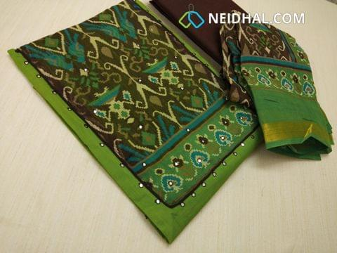 Green Slub Cotton unstitched salwar material with digital print on yoke, Faux Mirror work on yoke and front side, plain back, Brown cotton bottom, digital printed silk cotton dupatta with zari border.(requires taping)