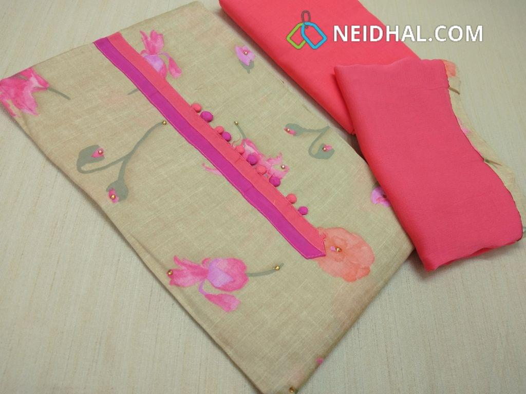 Beige Satin cotton floral printed unstitched salwar material with yoke patch and potli buttons, Peach cotton bottom, Peach chiffon dupatta with taping.