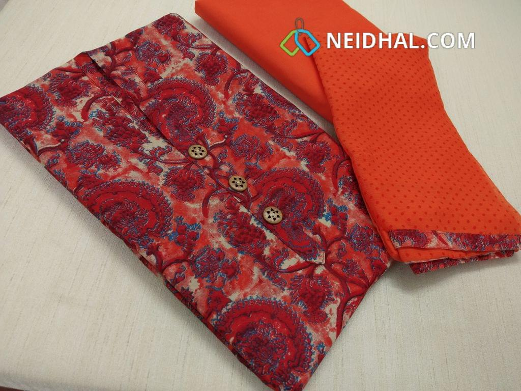 Digital Printed Silk Cotton Unstitched salwar material with wodden buttons on yoke, Orange cotton bottom, printed orange chiffon dupatta with tapings.
