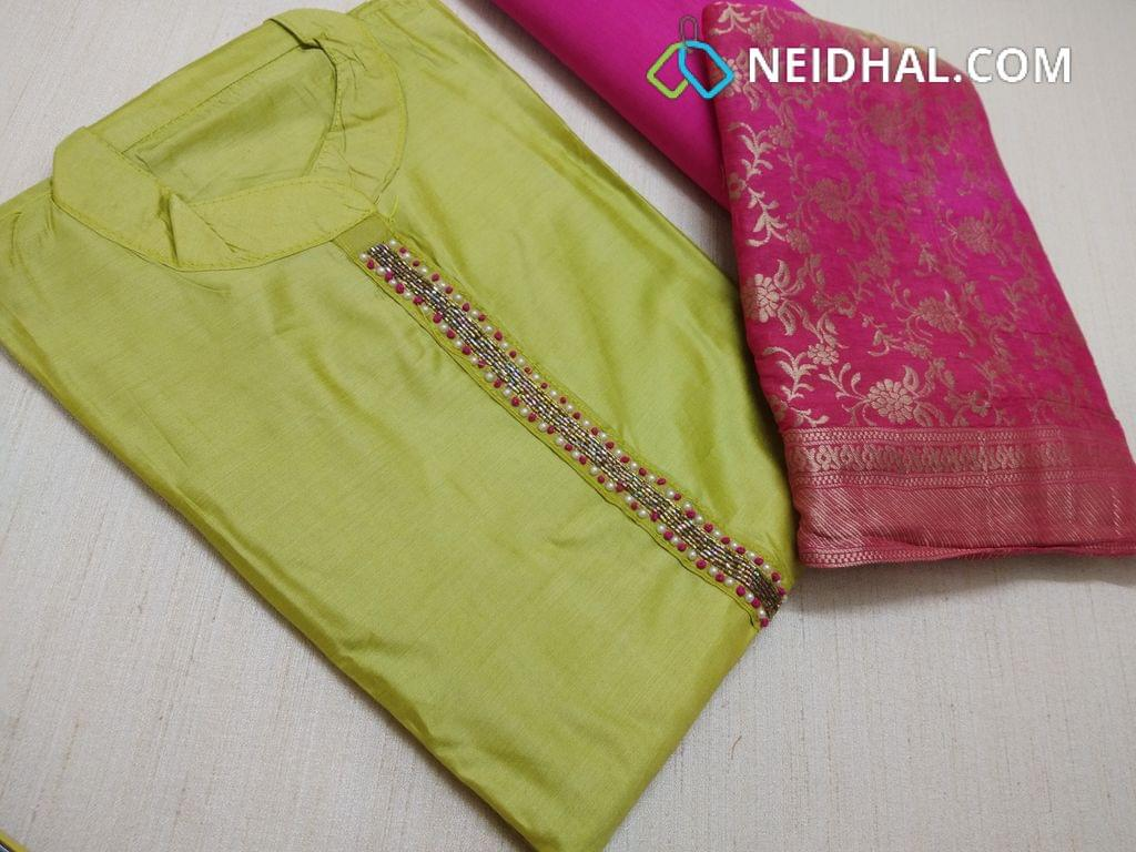 Designer Green Masleen silk unstitched salwar material(requries lining) with neck stitched, bead, knot work and pipe work on yoke, Pink cotton bottom, Heavy zari work on masleen dupatta with taping