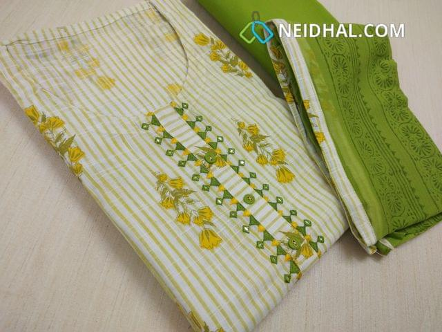 Premium printed Cotton Unstitched Salwar material with neck pattern, green cotton bottom, block printed green chiffon dupatta with taping