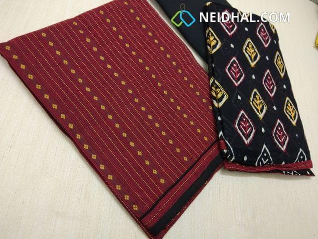 Maroonish red woven blended Cotton Unstitched salwar material,black cotton bottom,printed black mul cotton dupatta with threadwork and tapings