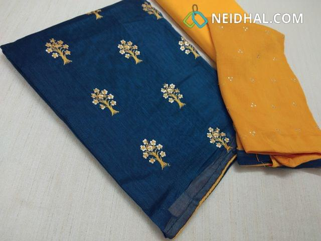 Blue Silk Cotton unstitched Salwar material(requires lining) with thread and sequins work on front side, Plain back, Yellow cotton bottom, dew drops work on chiffon dupatta with taping.