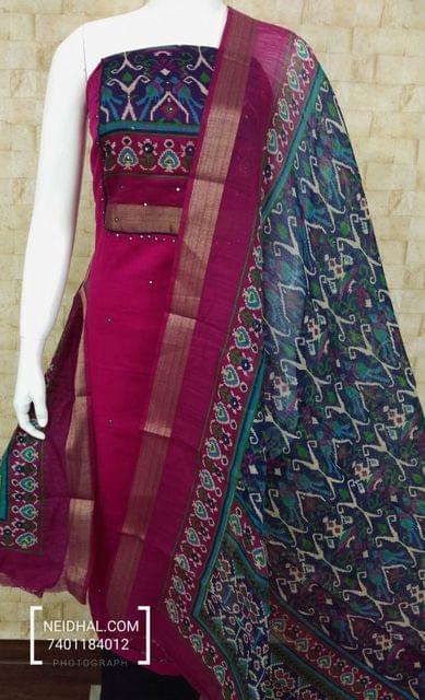 Pink Slub Cotton unstitched salwar material with digital print on yoke, blue cotton bottom, digital printed silk cotton dupatta with zari border.(requires taping)