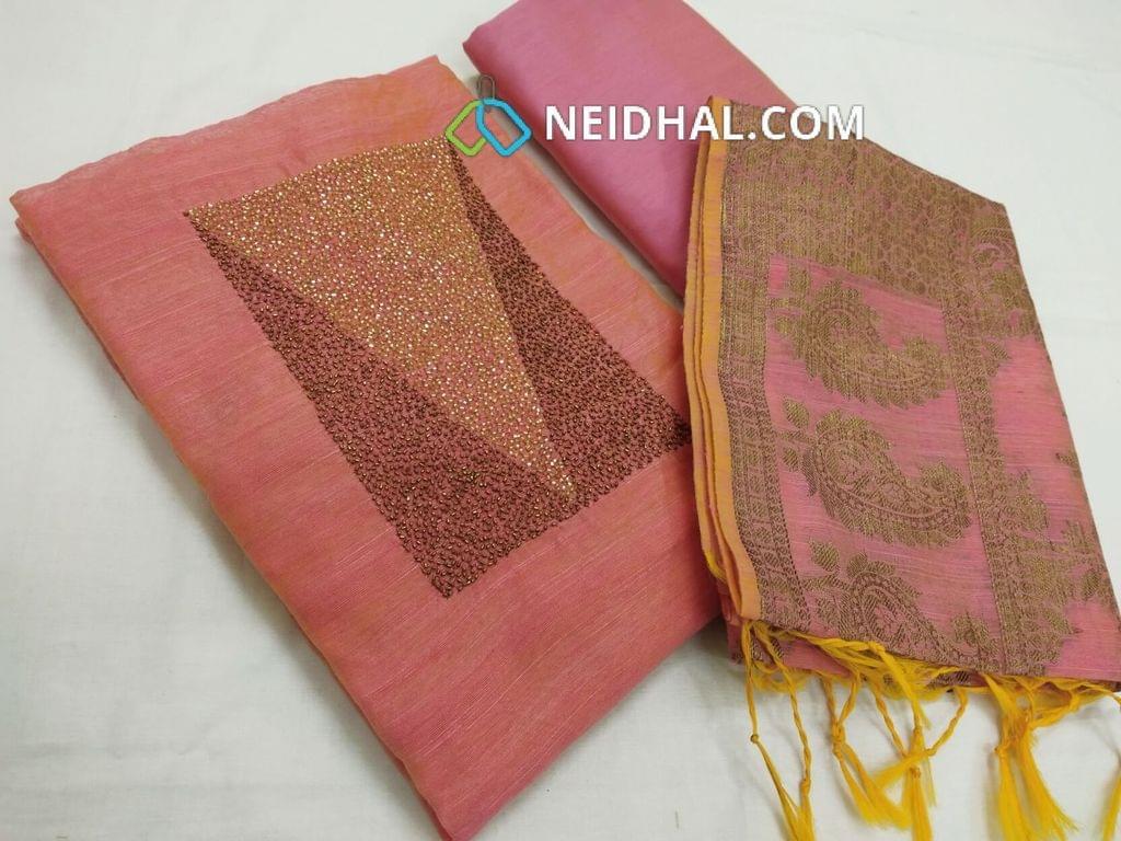 Designer Pink Silk Cotton unstitched Salwar material with heavy pipe work on yoke, pink silk cotton bottom, Benaras weaving silk cotton  dupatta with tassels.