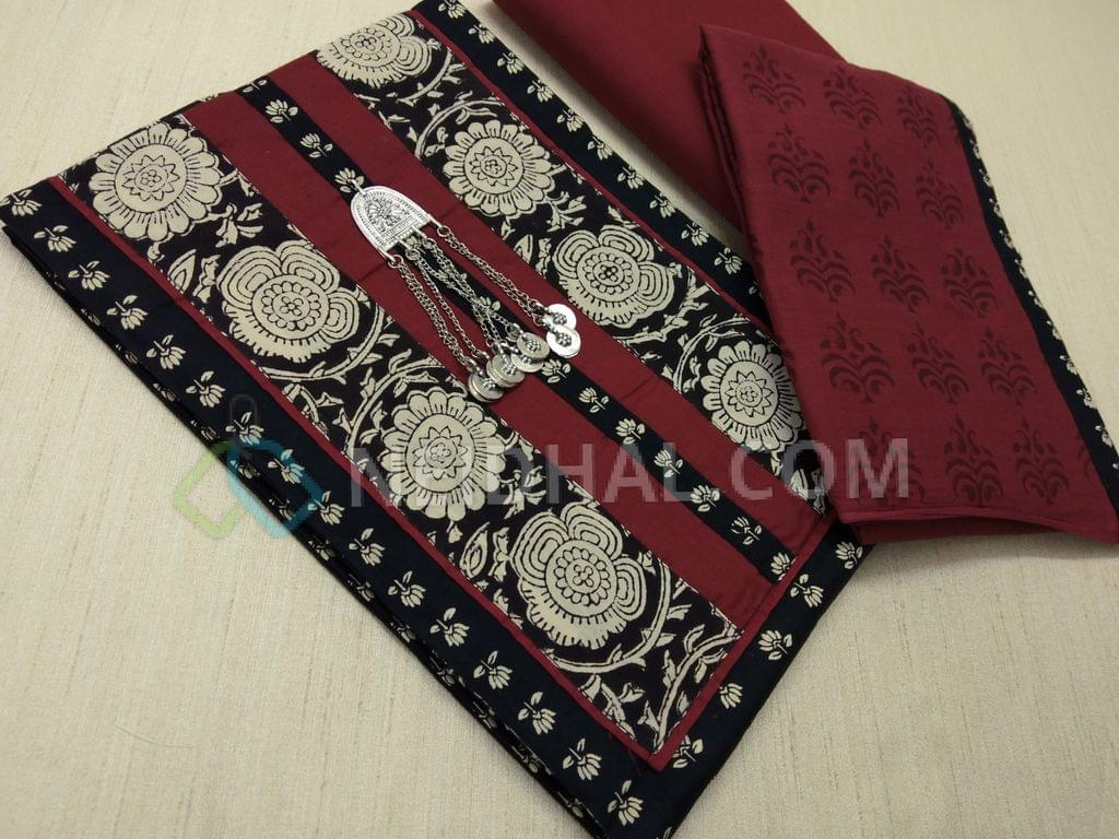 Printed Black cotton unstitched salwar material(Lining optional) with yoke patch work and metal tassels, daman patch, marron cotton bottom, Printed Maroon mul cotton dupatta with block prints and taping