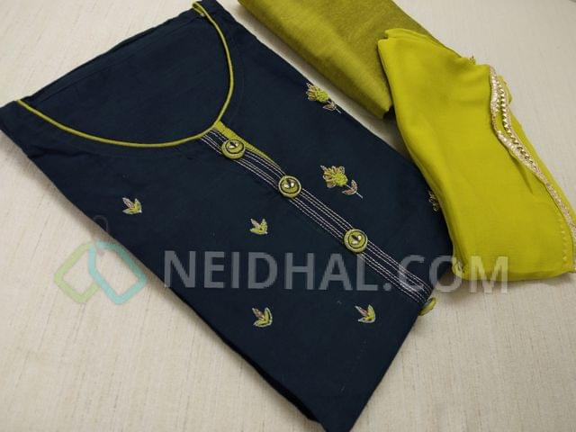 Designer Navy Blue Silk Cotton unstitched salwar material with neck pattern, French knot and thred work motifs on front side, Designer work buttons, Green Silk cotton bottom, Green chiffon dupatta with fancy taping