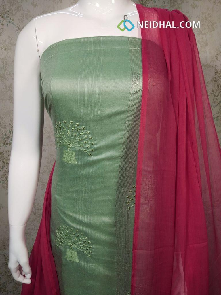 Green Silk Cotton unstitched salwar material with embroidery and sequence work on front side, Pink Cotton bottom, pink chiffon dupatta with taping