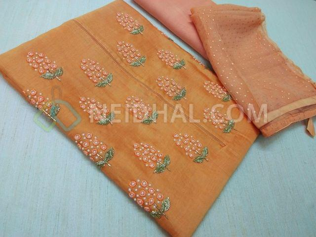 Clebrity Party wear Orange Chanderi unstithed Salwar material(requires lining) with colorful bead work and pipe work on yoke, Orange taffeta bottom, Light Orange chiffon dupatta with golden work and taping