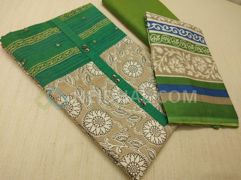 Beige Kalamkari printed Cotton unstitched Salwar material(requries lining) with Green patch work on topline, fancy buttons, Green Cotton bottom, printed cotton dupatta