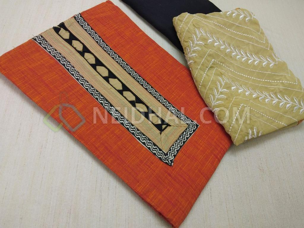 Orange Handloom cotton unstitched salwar material(requires lining) wih Yoke patch work, daman patch, Black cotton bottom, Beige chiffon dupatta with heavy embroidery work and taping
