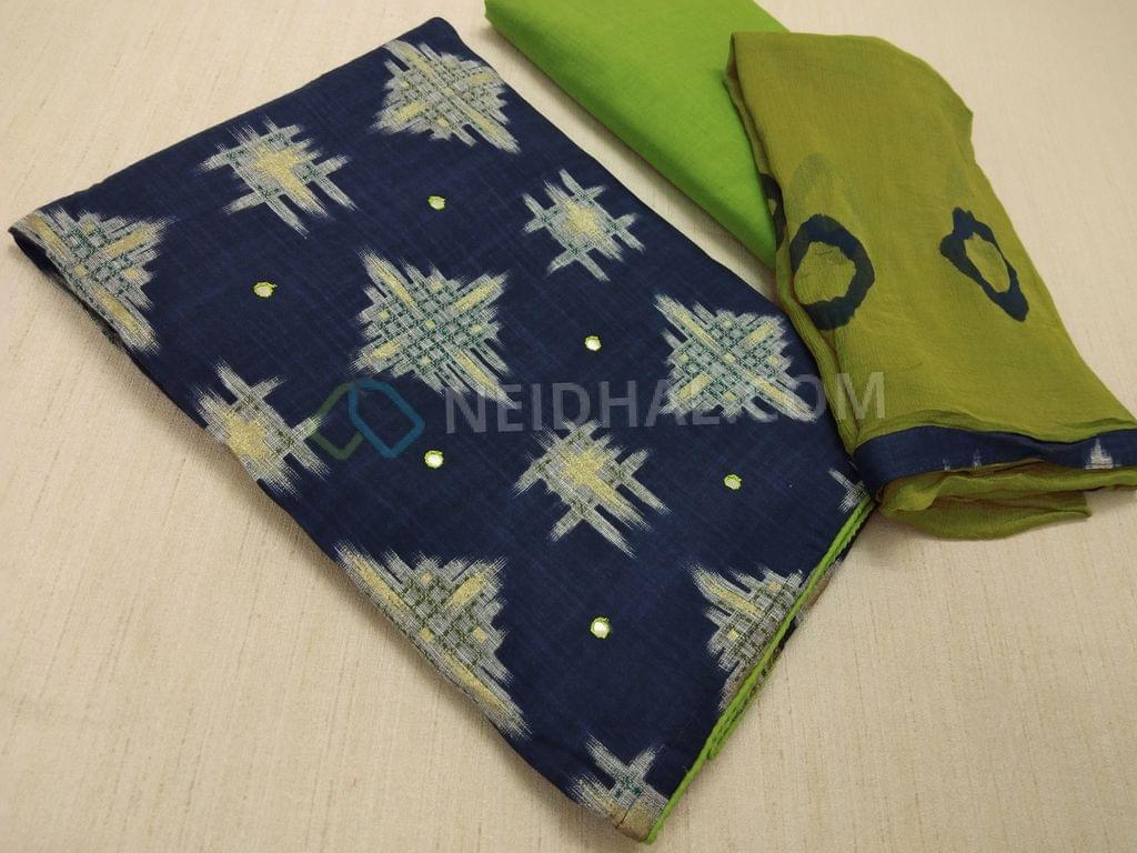 Blue Printed Modal Fabric(Flowy Fabric) with faux mirror work on front side, Green cotton bottom, Green Chiffon dupatta with Bhandini prints and taping