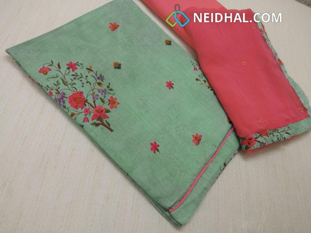 Printed Light Green Satin cotton unstitched Salwar materials with daman patch, Peachish pink cotton bottom, Peachish pink chiffon dupatta with dew drops work and taping