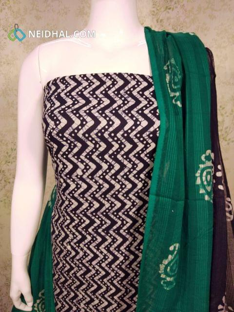 Navy Blue Cotton unstitched salwar material(requires lining) with batik Printed, cotton bottom, batik printed Dual color cotton dupatta.(requires taping)