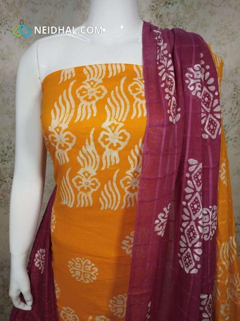 Yellow Cotton unstitched salwar material(requires lining) with batik Printed, batik printed pink cotton bottom, batik printed Dual color cotton dupatta.(requires taping)