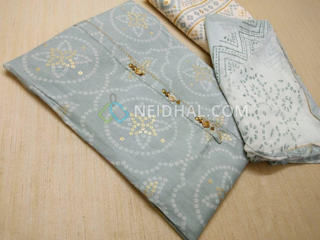 Premium Blue Rayon Fabric(Flowy fabric, Requires lining) with Bandhini white and golden prints, with fancy buttons and tassels on placket, Printed Modal fabric, Block printed(since hand made, there might be overlaps and misprints these cannot be considered as damage)chiffon duaptta with taping