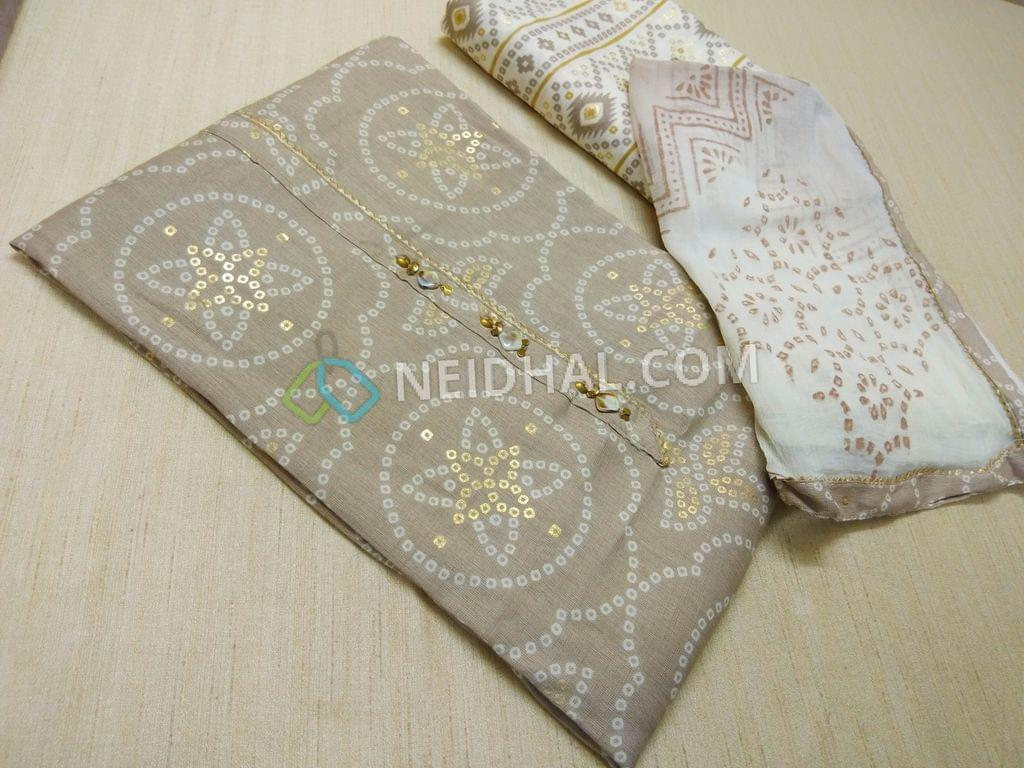 Premium Beige Rayon Fabric(Flowy fabric, Requires lining) with Bandhini white and golden prints, with fancy buttons and tassels on placket, Printed Modal fabric, Block printed(since hand made, there might be overlaps and misprints these cannot be considered as damage)chiffon duaptta with taping