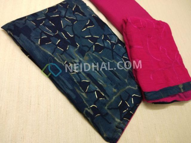 Printed Blue Rayon(flowy fabric) unstitched salwar material(requires lining), Pink cotton bottom, Pink Chiffon dupatta with embroidery work and taping.