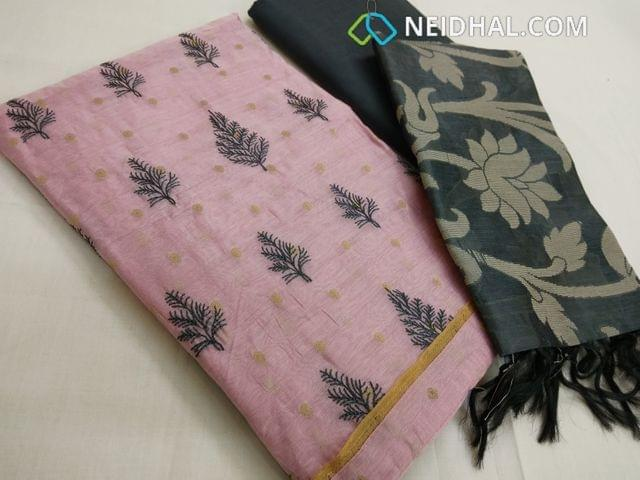 Designer Pink slub silk cotton unstitched salwar material(requires lining) with zari butta work, embroidery work on front side, plain back, Grey bottom, Grey silk cotton dupatta with weaving and tassels.