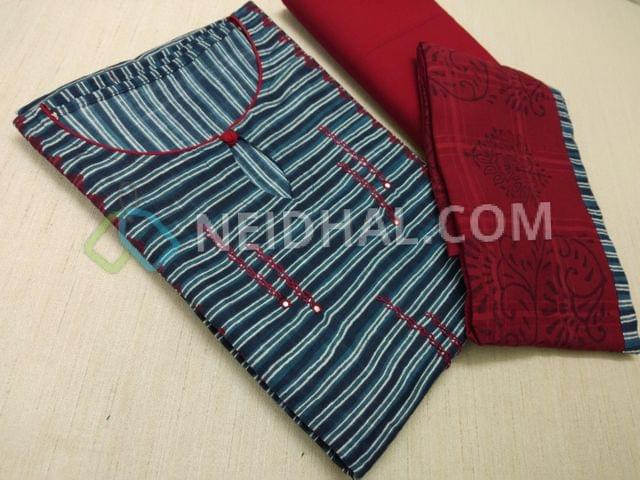 Printed Blue Soft cotton unstitched salwar material(requires lining) with neck stitched, thread and foil mirror work on front side, Red Cotton bottom, Block printed Red Cotton dupatta with taping