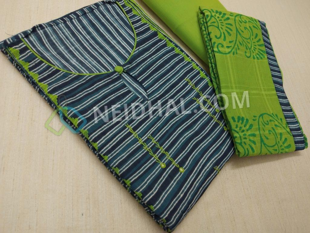 Printed Blue Soft cotton unstitched salwar material(requires lining) with neck stitched, thread and foil mirror work on front side, Green Cotton bottom, Block printed Green Cotton dupatta with taping