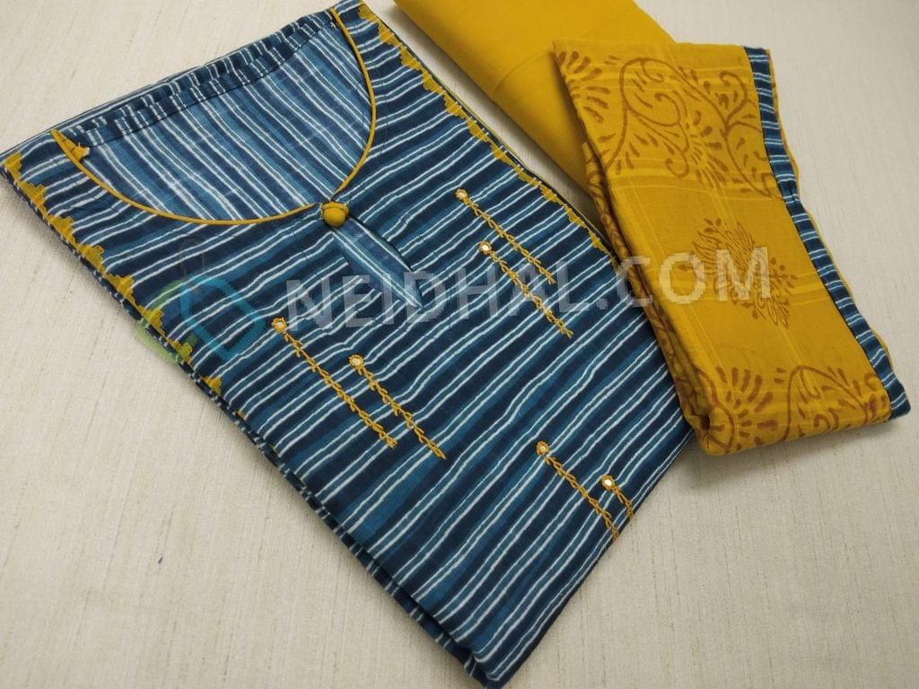 Printed Blue Soft cotton unstitched salwar material(requires lining) with neck stitched, thread and foil mirror work on front side, Yellow Cotton bottom, Block printed Yellow Cotton dupatta with taping