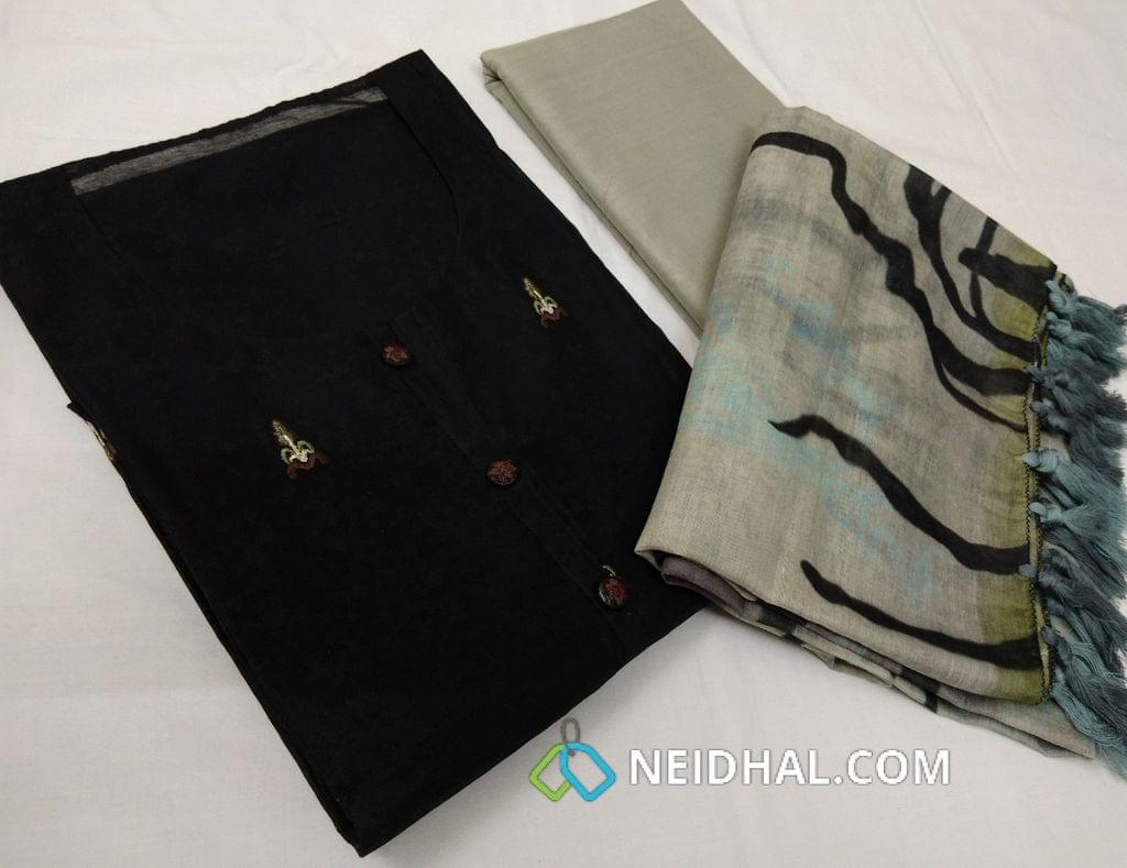 Designer Black Thin Fabric semi stitched slawar Material(requires lining) with Neck Stitch, buttons and tassels on yoke, Embroidery work on front side, plain back side, pure drum dyed grey cotton bottom, Digital Printed on silk cotton dupatta with tassels
