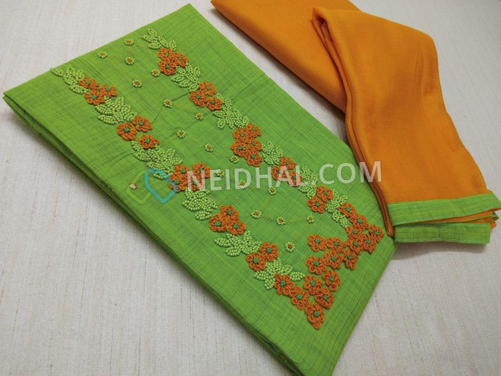 Green Cotton unstitched salwar material(requires lining) with Thread and bead work on yoke, Yellow cotton bottom, Yellow chiffon dupatta with taping