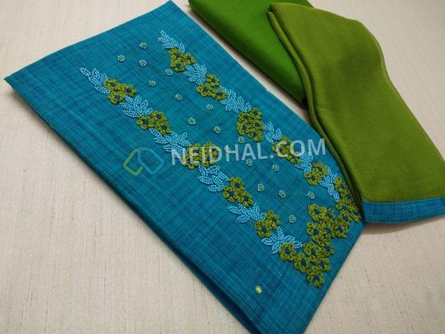 Blue Cotton unstitched salwar material(requires lining) with Thread and bead work on yoke, Green cotton bottom, Green chiffon dupatta with taping