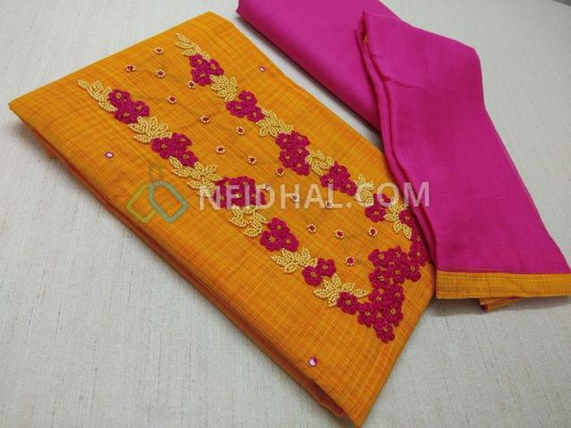 Yellow Cotton unstitched salwar material(requires lining) with Thread and bead work on yoke, Pink cotton bottom, Pink chiffon dupatta with taping