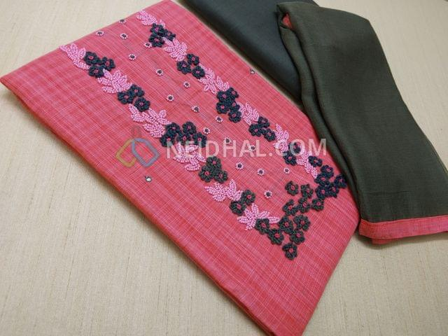 Pink Cotton unstitched salwar material(requires lining) with Thread and bead work on yoke, Grey cotton bottom, Grey chiffon dupatta with taping