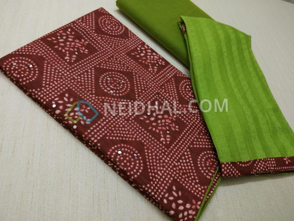 Maroon Bandhini printed Satin cotton Unstitched salwar material(requires lining) with faux mirror work on front side, Green cotton bottom, Green chiffon dupatta with taping