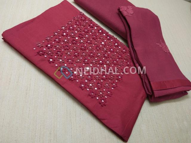 Pink Mix cotton unstitched salwar material(requires lining) with french knot and faux mirror work on yoke, Pink cotton bottom, Pink Chiffon dupatta with embroidery pattern work and taping