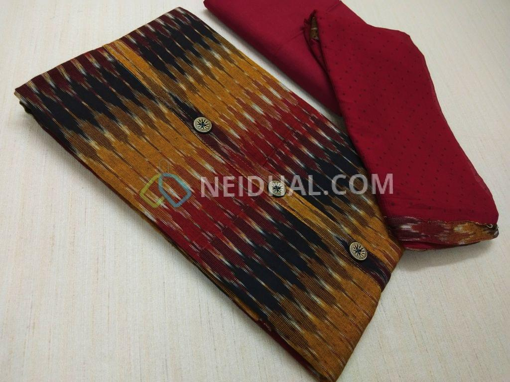 Yellow Pure Hand woven ikkat Cotton Unstitched salwar material(This Product has been woven by hand and may have weaving irregularities, missing tread in weft or warp, this may not be considered as damage, Please buy only if you are very sure about hand woven products), Maroon cotton bottom, Printed Maroon Chiffon dupatta with taping.