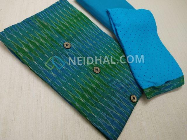 Green Pure Hand woven ikkat Cotton Unstitched salwar material(This Product has been woven by hand and may have weaving irregularities, missing tread in weft or warp, this may not be considered as damage, Please buy only if you are very sure about hand woven products), Blue cotton bottom, Printed Blue Chiffon dupatta with taping.