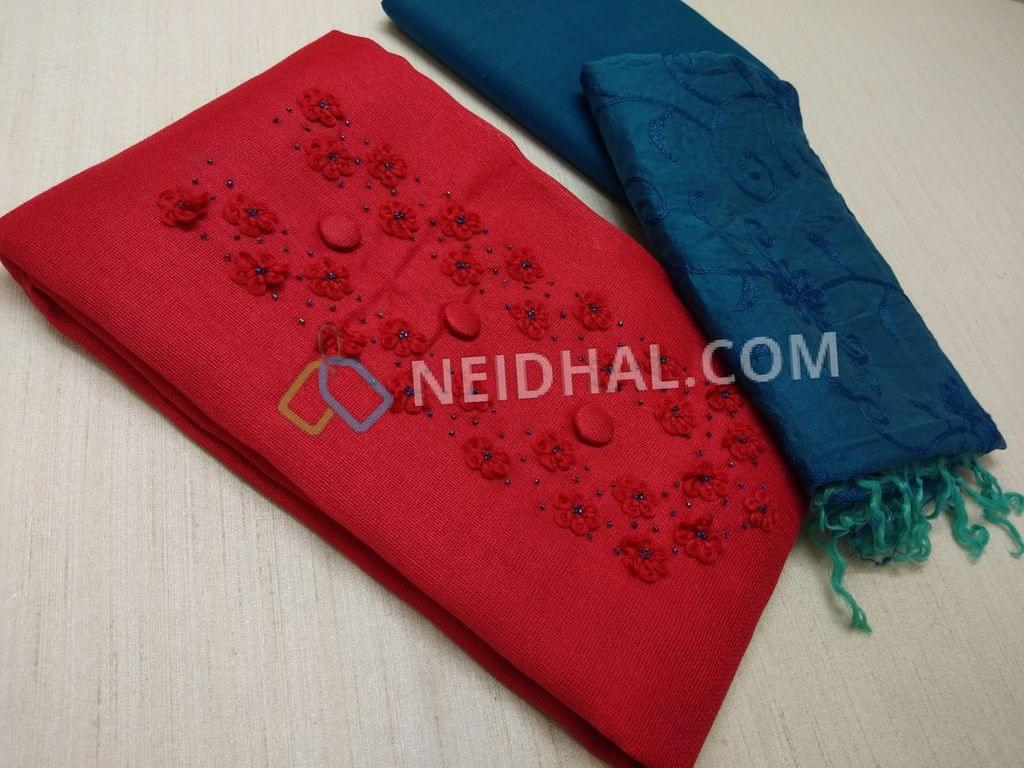 Red Netted Fabric unstitched salwar material(requires lining) with thread and bead work on yoke, daman patch, blue cotton bottom, Blue soft silk cotton dupatta with complete embroidery work(TAPPING NEEDS TO BE DONE)